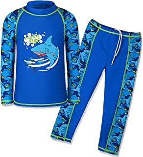 HUAANIUE Boys Swimsuit Rashguard Set UPF50+ UV Sun Protection 3-12 Years