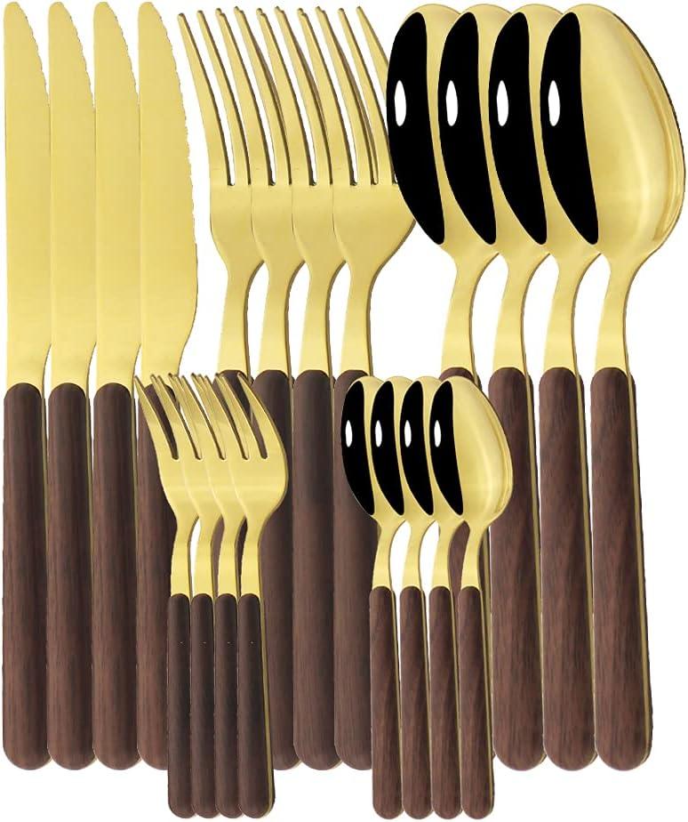 Silverware Set Long-awaited 20Pcs Wooden Handle Max 83% OFF Westrn Flatware Stainles