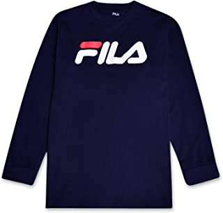 Fila Mens Big and Tall Long Sleeve Cotton Crewneck Logo T Shirt