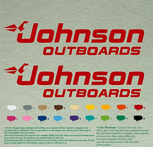 Pair 12' Johnson outboards Decals Vinyl StickersRed Vinyl Stickers Boat Outboard Motor Lot of 2