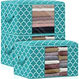 WISELIFE Storage Bags 100L 3-Pack Large Blanket Clothes Organization and Storage Containers for Bedding, Comforters, Foldable Organizer with Reinforced Handle, Clear Window, Sturdy Zippers,Green