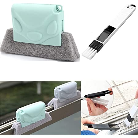 Didiz Combo of Window Groove Frame Cleaning Brush and Dust Cleaning Brush for Window Slot Keyboard with Mini Dustpan, Door Track Cleaning Brushes, Dust Cleaner Tool for All Corners Edges and Gaps