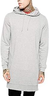 FSSE Men's Fleece Hip Hop Longline Solid Loose Pullover Hoodie Sweatshirt