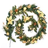 WeRChristmas Pre-Lit Decorated Garland Christmas Decoration Illuminated with 40-LED Lights, Cream/Gold, 9 feet