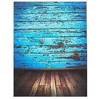 MOHOO 室内写真撮影用バックドロップ シルク製 ヴィンテージ ブルー 木製 写真小道具 スタジオ背景 1.5×2.1m