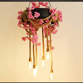HJGHFH Prndant Lighting, American Country Style Retro Industrial Hemp Tire Chandelier Creative Personality Lighting Cafe Bar Restaurant [Clase De Eficiencia Energética A ++],Pink
