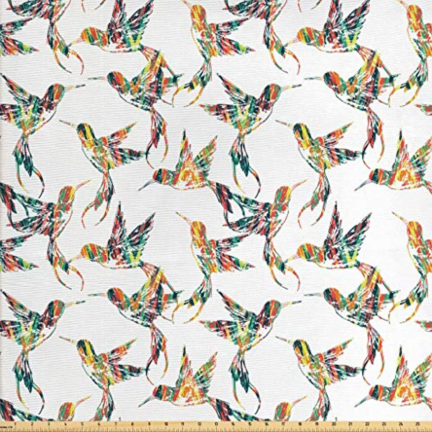 Lunarable Hummingbirds Fabric by The Yard, Grungy Looking Colorful Bird Figures Hawaiian Exotic Fauna Aloha Fun Pattern, Decorative Fabric for Upholstery and Home Accents, 2 Yards, Multicolor