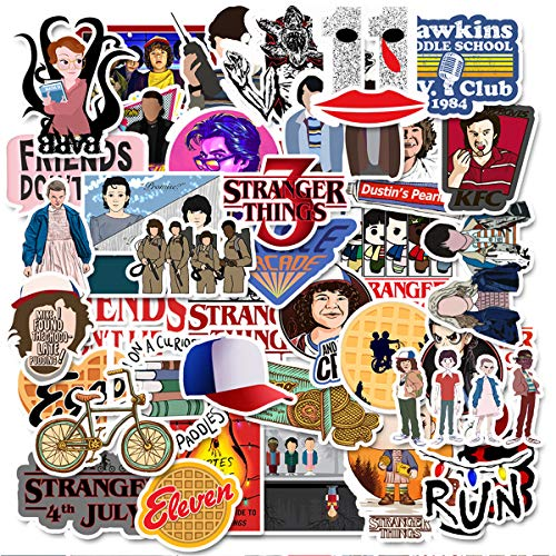 [50 Pcs] Stranger Things Sticker, Funny Vinyl Waterproof Decal Stickers, Reusable and Durable Stickers for Water Bottles, Hydro Flasks, Laptops, Guitars, Skateboards, Refrigerators, Luggage