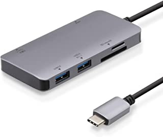 エレコム USB Type-C ハブ ドッキングステーション 6-in-1 DST-C12SV/EC 100W PD対応 USB3.1 Type-C×1ポート USB3.0-A×2ポート 4K対応HDMI×1ポート SD/microSDスロット...
