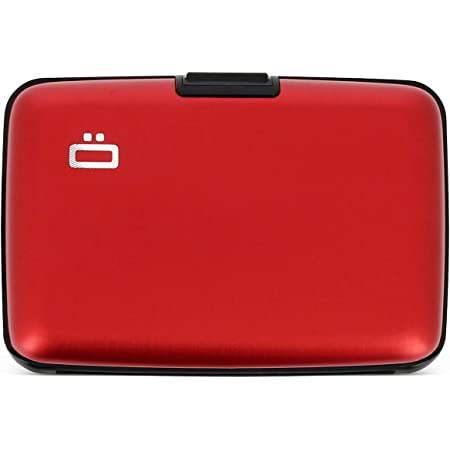 Ögon Smart Wallets - Stockholm Aluminium Wallet - RFID Blocking Card Holder - Up to 10 Cards and Banknotes - Red