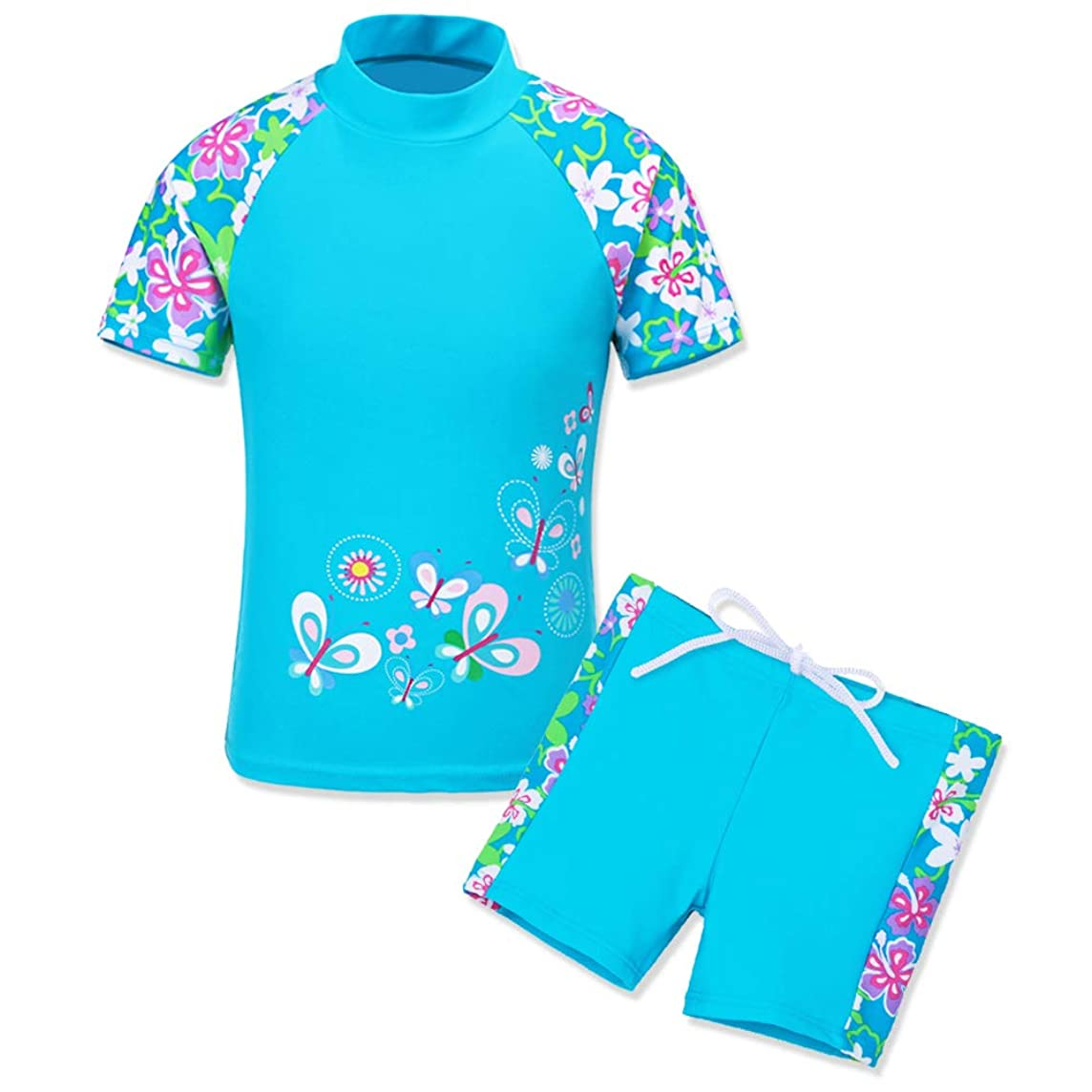 HUANQIUE Girls Swimsuit UPF50+ 3-12 Years Two Piece Tankini
