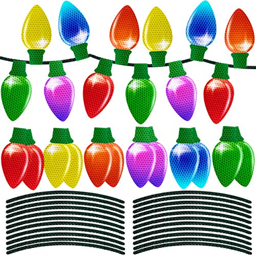 90shine 24 Pieces Christmas Car Refrigerator Decorations Reflective Bulb Light Shaped Magnets Ornaments Set Xmas Holiday Cute Decor 48 Magnetic Wires