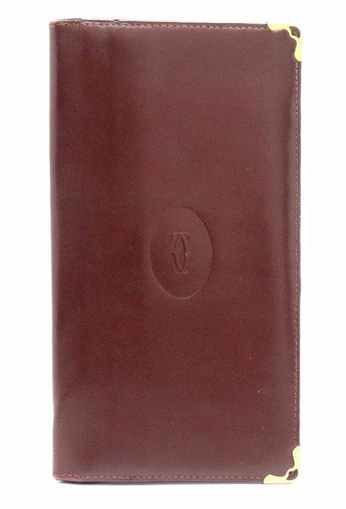 方法論便利さ広告[カルティエ] Cartier マストライン 2つ折 長財布 札入れ ボルドー ゴールド金具 [中古]