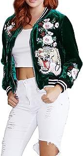 Lovaru Women's Fashion Velvet Rose Embroidery Biker Patchwork Baseball Bomber Jacket