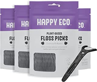 Natural Dental Floss Picks (200 Count) - Vegan, Sustainable, Eco-Friendly Flosser with Tooth Pick Flossers for Adults and Kids- Plaque Remover for Fresh Teeth Cleaning - Zero Waste Oral Care