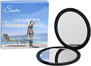 """Great Compact Magnifying Mirror - 4"""" Round 10X Magnifying Makeup Mirror - Perfect for Purse - with Dual Sides (1X True Vie..."""