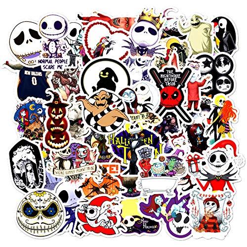 MYLIES Adesivi Pack 50-PCS, Stickers di Halloween, per Bottiglie d'Acqua, Bagagli, Skateboard, Auto, Moto, Biciclette, Valigia,Vinili Adesivi paraurti Decals