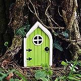Do Domybest Fee Elf Tür Gartenfiguren, Gartendeko Feentür, Elfentür, Garten Figuren Deko Feen Türen und Fenster für Bäume (A)