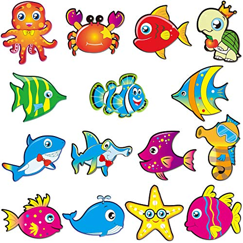 60 Pieces Sea Animals Cut-Outs Fish Classroom Accents Cutouts Ocean Themed Party Cutouts Classroom Decoration Cutouts with 120 Pieces Adhesive Dots for Classroom Bulletin Board