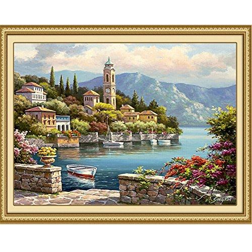 Hjuns™ Peinture à la main DIY Peinture à l'huile Numérique Port paysage Romantique Décoration de maison mur Décor Salon Chambre