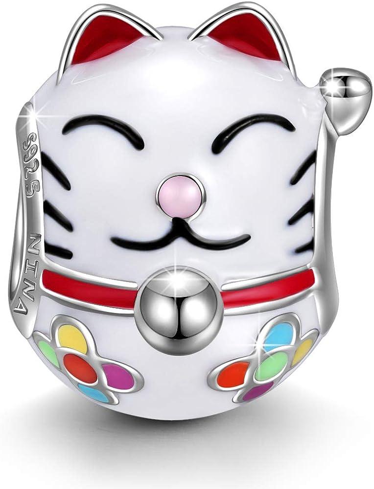 Ninaqueen,charm ,ciondolo gatto fortunato,in argento 925 ,compatibile con bracciali pandora NQCT5425BW
