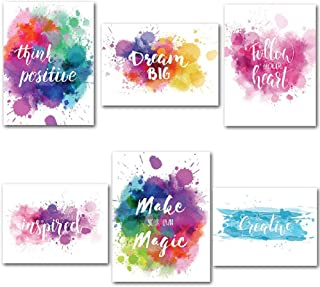 """BJYHIYH Inspirational Wall Posters Unframed Motivational Quotes Wall Art for Office Classroom Gym Girls Teens(12""""x16"""",6 Pieces)"""