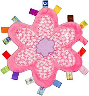 Baby Girls Colorful Taggy Security Blanket Keepsake Newborn Toddlers Flower Shape Soft Blanket Toy - Pink