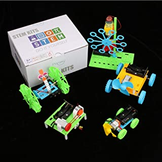 5 Set STEM Kit,DC Motors Electronic Assembly Kit for Kids DIY STEM Toys Intro to Engineering, Mini Cars, Circuit Building DIY Science ExperimentsProjects for Boys and Girls