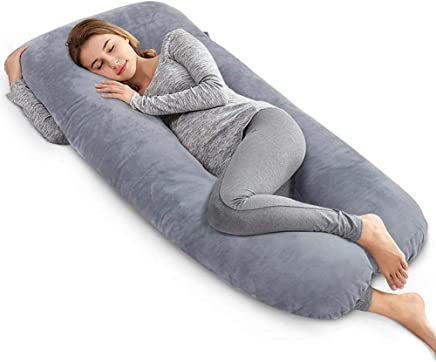 AngQi Unique U Shaped Full Pregnancy Body Pillow with Zipper Removable Velvet Cover, 60-inch, Gray