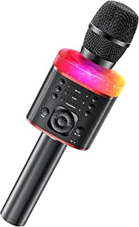 Karaoke Microphone, Wireless Bluetooth Microphone with Colorful LED Light Sound Change Function Echo Vocal Remover Microph...