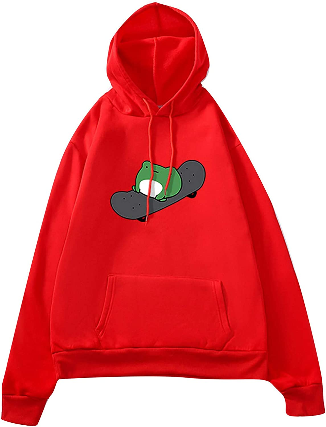 UOCUFY Hoodies for Women, Women's Casual Long Sleeve Sweatshirts Round Neck Drawstring Hooded Pullover Top with Pockets