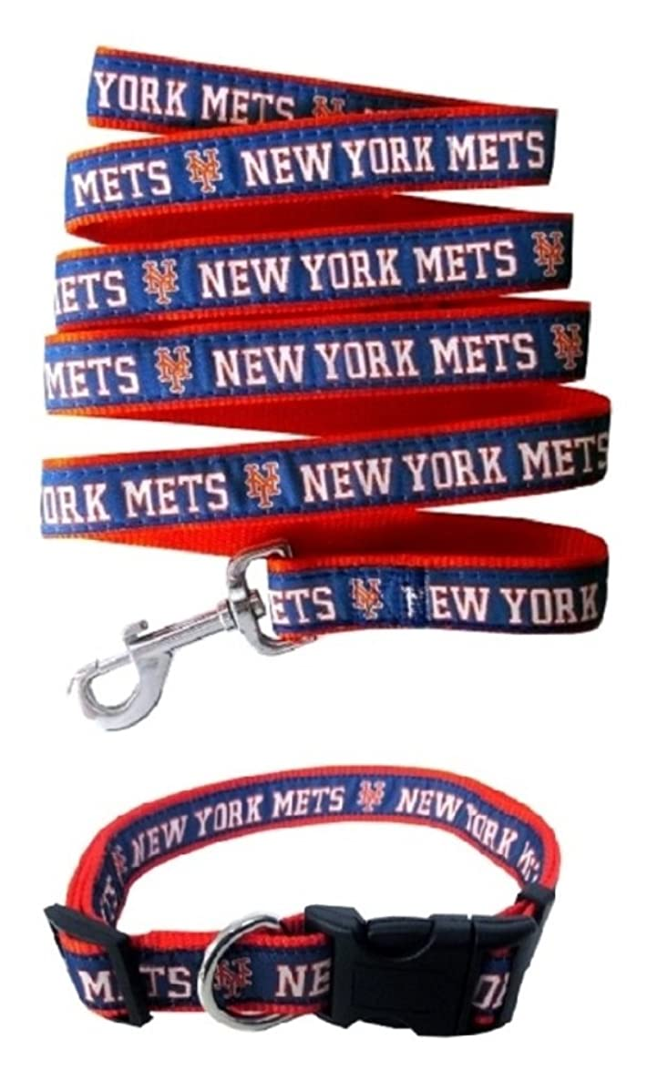 Pets First New York Mets Nylon Collar and Matching Leash for Pets (MLB Official Size Small