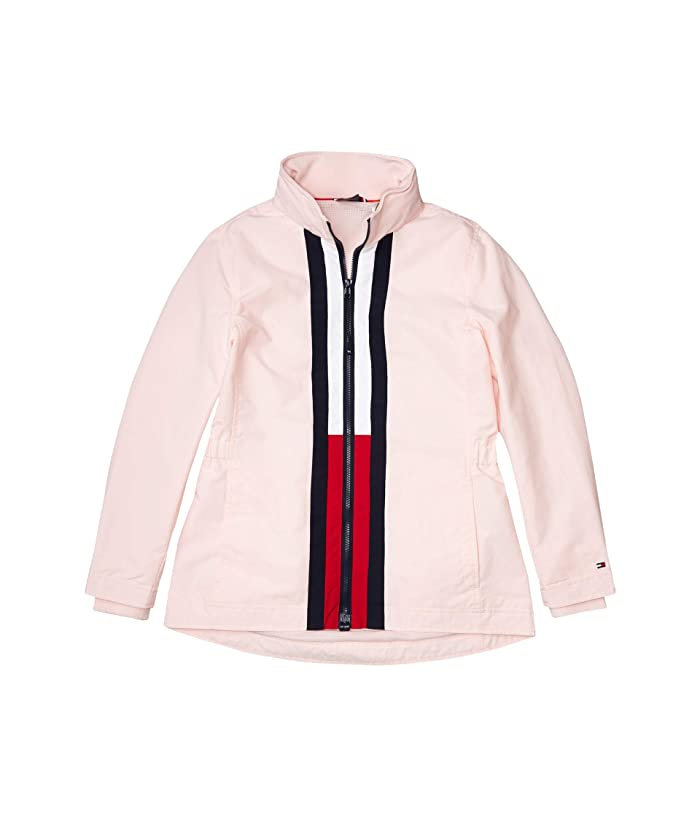 Tommy Hilfiger Adaptive  Windbreaker Jacket with Magnetic Zipper (Blushing Bride/Masters Navy/Tango Red) Womens Clothing