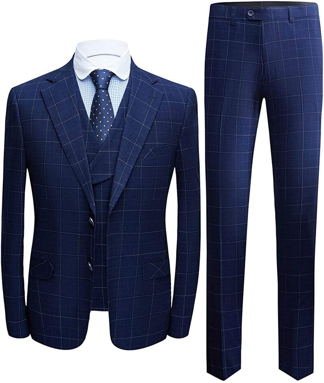 Men's Navy Plaid Notch Lapel Suits 3 PC Two Buttons Wedding Suits Groom Tuxedos Dinner Suits