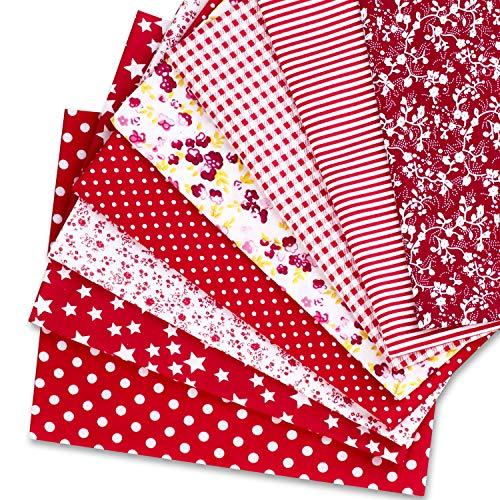 Speedsporting Tela de algodón por metros, para patchwork, manualidades, 8 unidades de 50 x 80 cm, cuadradas, para coser (rojo)