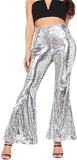 Womens Glitter High Waist Trousers Sequins Flared Bootcut Pant