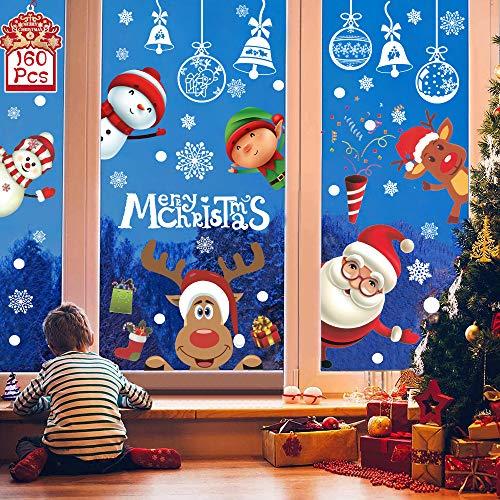 YQHbe Noël Autocollant Fenetre,160 Stickers Vitres Decoration De Noël Arbre Santa Renne Flocons De Neige Autocollants NoëL Statique RéUtilisable Autocollant Vitre Noel