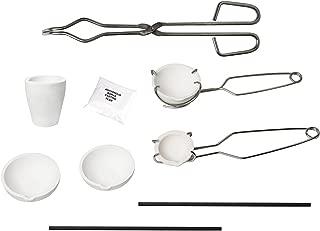 Bewinner Metal Jewelry Casting Kit,5pcs Melting Kit High Purity Graphite Modern Ceramic Processing Technology,Silica Crucible+Graphite Rod+Graphite Ingot Mold+Bag of 30g Borax+Crucible Tong