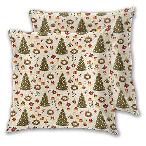 Christmas Decorative Pillowcase, 20 x 20 Inch Fir Tree Garland and Bells Festive Ornaments Xmas Themed Cartoon Seasonal Holiday Comfortable and Soft Christmas Decoration Multicolor Set of 2