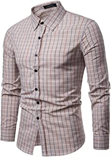 Soft and Close Hot Men's Long-Sleeved Plaid Shirt, Casual Men's Spring Cotton Shirt Buttons wl (Color : Beige, Size : S)