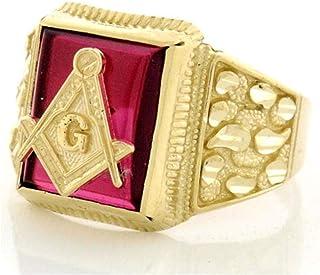 Details about  /9x7mm Knights Templar Masonic Mason July Red Ruby CZ Birthstone Men Ring Size 11