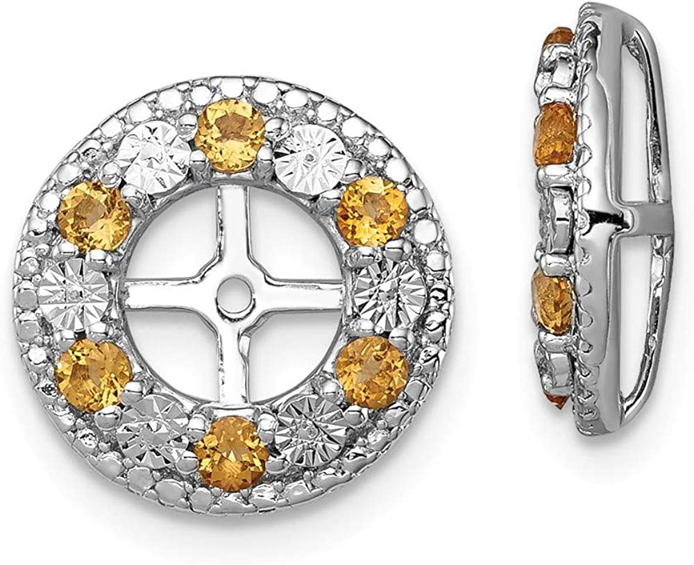 FB Columbus Mall security Jewels Solid Sterling Silver Rhodium Earring Citrine Jacket