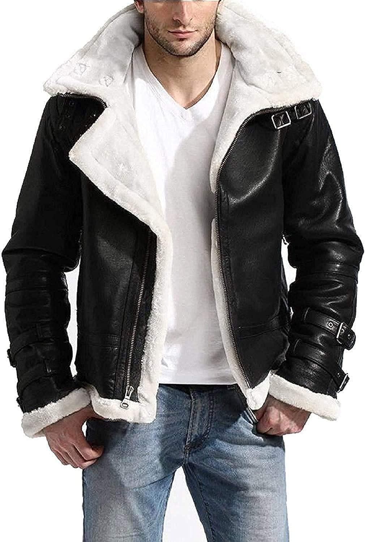 III-Fashions Mens B3 Fur Shearling Aviator Pilot Flying Removable Hood Bomber Black Sheepskin Leather Jacket