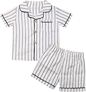 YHLZBNH 2pcs Toddler Baby Boy Girl Pajama Set Outfit Strip Short Sleepwear Cotton Button Down Nightwear