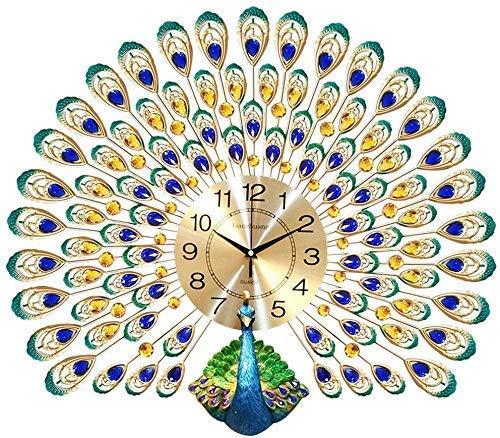FGDSA Reloj de Pared El Pavo Real, decoración de Cristal de Diamante, Reloj de Sala de Estar Creativo Europeo, Relojes, Reloj de Pared de Cuarzo silencioso, electrónico
