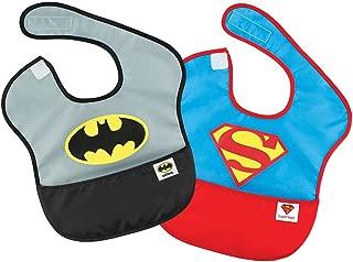 Bumkins DC Comics SuperBib, Baby Bib, Waterproof, Washable, Stain & Odor Resistant, 6-24 Months, 2 Pack - Batman/Superman