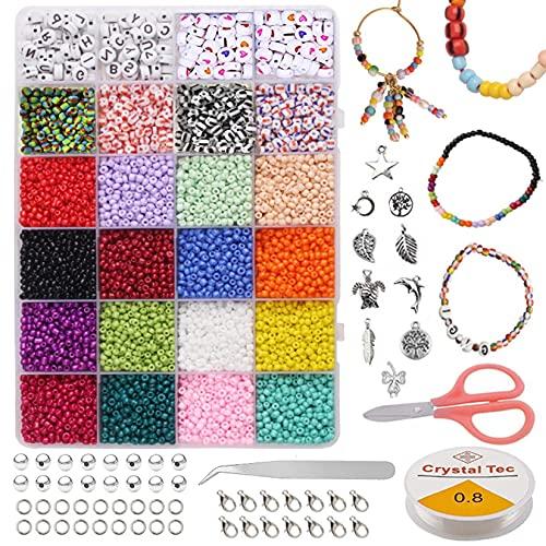 ADOHOX 8000 Piezas 3mm Cuentas de Colores, Con caja de almacenamiento Abalorios Letras Redondas, Mini Cuentas y Abalorios Cristal para para DIY Pulseras Collares Bisutería