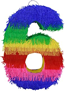 Lytio Number 6 Multicolor Party Small Pinata for 6th Birthday, Centerpiece Decoration, Anniversary, Décor, Photo Prop, Party Supplies, Mexican Piñata Game