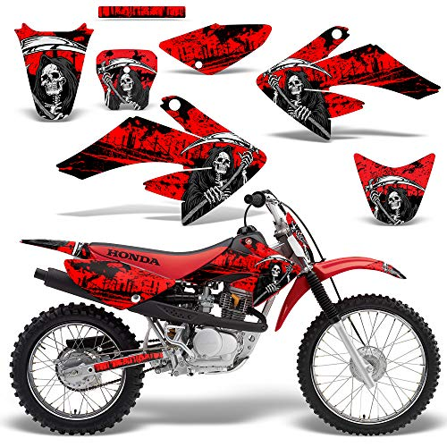 Wholesale Decals MX Dirt Bike Graphics kit Sticker Decal Compatible with Honda CRF80/CRF100 2004-2010 - Red Reaper V2