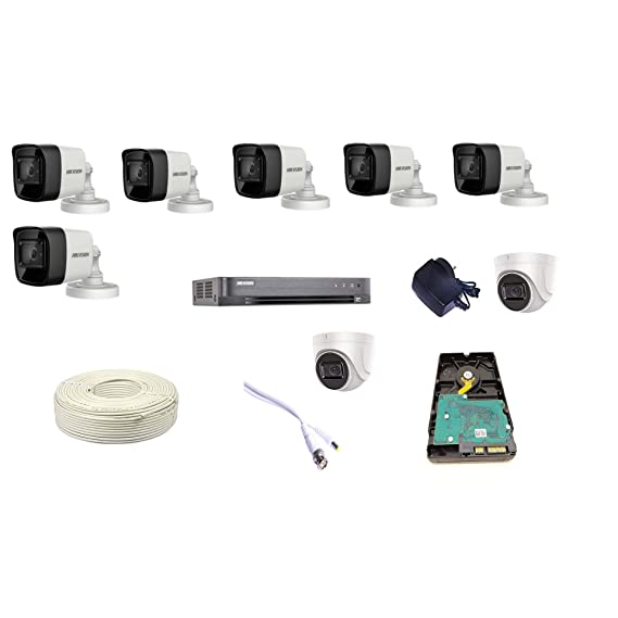 HIKVISION 8CH HD DVR, 6 Bullet Cameras, 2 Dome Camera, 4TB Hard DISC, Wire ROLL, Supply and All Required CONNECTORS 4K Supper HD 8MP Cameras Combo KIT (Product from Techno-CAM)